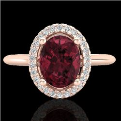 1.75 CTW Garnet & Micro Pave VS/SI Diamond Ring Solitaire Halo 14K Rose Gold - REF-40N2Y - 21011