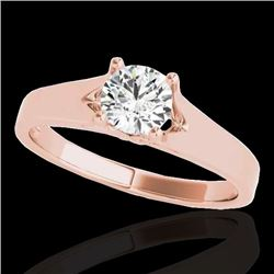 1 CTW H-SI/I Certified Diamond Solitaire Ring 10K Rose Gold - REF-140Y2N - 35156
