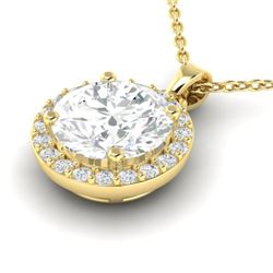 1.75 CTW VS/SI Diamond Certified Pave Necklace 18K Yellow Gold - REF-525W2H - 21569