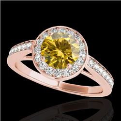 1.45 CTW Certified Si Fancy Intense Yellow Diamond Solitaire Halo Ring 10K Rose Gold - REF-209W3H -