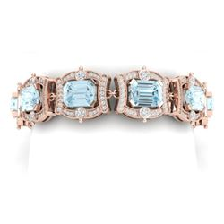 42.18 CTW Royalty Sky Topaz & VS Diamond Bracelet 18K Rose Gold - REF-654T5X - 38785