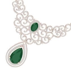 87.52 CTW Royalty Emerald & VS Diamond Necklace 18K Rose Gold - REF-2000W2H - 39837