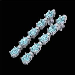 6 CTW Skt Blue Topaz & VS/SI Diamond Certified Tennis Earrings 10K White Gold - REF-38M2F - 21515
