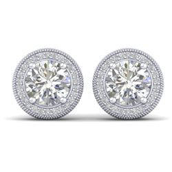 4 CTW Certified VS/SI Diamond Art Deco Stud Earrings 18K White Gold - REF-1102Y8N - 32786
