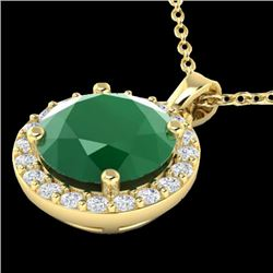 2 CTW Emerald & Halo VS/SI Diamond Micro Pave Necklace Solitaire 18K Yellow Gold - REF-49Y3N - 21561