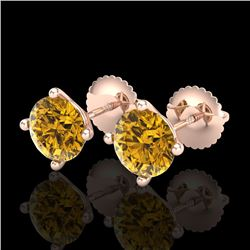 2 CTW Intense Fancy Yellow Diamond Art Deco Stud Earrings 18K Rose Gold - REF-272Y8N - 38247