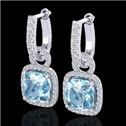 7 CTW Sky Blue Topaz & Micro Pave VS/SI Diamond Certified Earrings 18K White Gold - REF-100M8F - 229