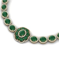 79.27 CTW Royalty Emerald & VS Diamond Necklace 18K Yellow Gold - REF-1309T3X - 39221