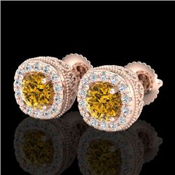 1.69 CTW Intense Fancy Yellow Diamond Art Deco Stud Earrings 18K Rose Gold - REF-180R2K - 37995
