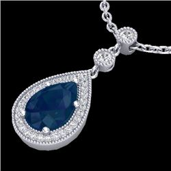2.75 CTW Sapphire & Micro Pave VS/SI Diamond Necklace Designer 18K White Gold - REF-52K8R - 23140