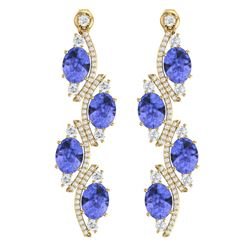 16.23 CTW Royalty Tanzanite & VS Diamond Earrings 18K Yellow Gold - REF-354N5Y - 38987