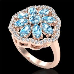 3 CTW Sky Blue Topaz & VS/SI Diamond Certified Cluster Halo Ring 10K Rose Gold - REF-52K2R - 20773