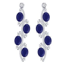 16.12 CTW Royalty Sapphire & VS Diamond Earrings 18K White Gold - REF-272N8Y - 38982