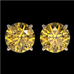 3 CTW Certified Intense Yellow SI Diamond Solitaire Stud Earrings 10K Rose Gold - REF-514F2M - 33129