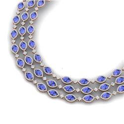 79.33 CTW Royalty Tanzanite & VS Diamond Necklace 18K Rose Gold - REF-1781M8F - 38950