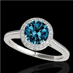 1.55 CTW SI Certified Fancy Blue Diamond Solitaire Halo Ring 10K White Gold - REF-180Y2N - 33531