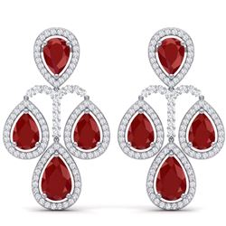 29.23 CTW Royalty Designer Ruby & VS Diamond Earrings 18K White Gold - REF-509F3M - 39363