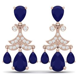 11.97 CTW Royalty Sapphire & VS Diamond Earrings 18K Rose Gold - REF-170H9W - 38722