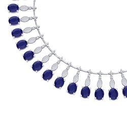 65.62 CTW Royalty Sapphire & VS Diamond Necklace 18K White Gold - REF-1072T8X - 39126