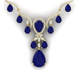 37.14 CTW Royalty Sapphire & VS Diamond Necklace 18K Yellow Gold - REF-763F6M - 38597