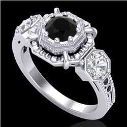 1.01 CTW Fancy Black Diamond Solitaire Art Deco 3 Stone Ring 18K White Gold - REF-96T4X - 37464