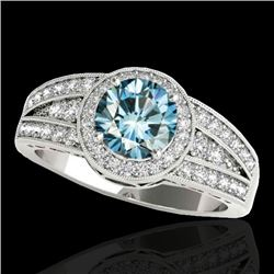 1.5 CTW SI Certified Fancy Blue Diamond Solitaire Halo Ring 10K White Gold - REF-180H2W - 34074