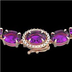 45.25 CTW Amethyst & VS/SI Diamond Tennis Micro Pave Halo Necklace 14K Rose Gold - REF-225R5K - 4025