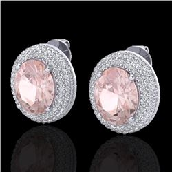9 CTW Morganite & Micro Pave VS/SI Diamond Certified Earrings 18K White Gold - REF-284X4T - 20229