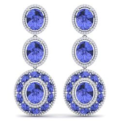 33.72 CTW Royalty Tanzanite & VS Diamond Earrings 18K White Gold - REF-581K8R - 39264