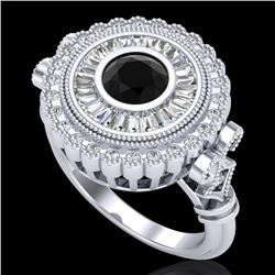 2.03 CTW Fancy Black Diamond Solitaire Engagement Art Deco Ring 18K White Gold - REF-203F6M - 37898