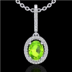 2 CTW Peridot & Micro Pave VS/SI Diamond Necklace Solitaire Halo 18K White Gold - REF-61H8W - 20665