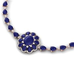 78.98 CTW Royalty Sapphire & VS Diamond Necklace 18K Rose Gold - REF-690K9R - 39175