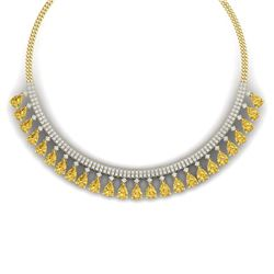 39.66 CTW Royalty Canary Citrine & VS Diamond Necklace 18K Yellow Gold - REF-854N5Y - 38885