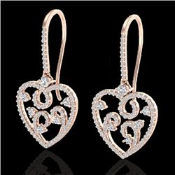 2.50 CTW VS/SI Diamond Certified Micro Pave Designer Earrings 14K Rose Gold - REF-179T3X - 20096