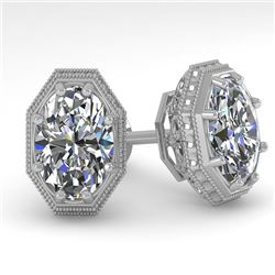 2 CTW VS/SI Oval Cut Diamond Stud Earrings 18K White Gold - REF-499N3Y - 35982