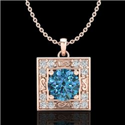 1.02 CTW Fancy Intense Blue Diamond Solitaire Art Deco Necklace 18K Rose Gold - REF-130N9Y - 38168