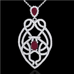 3.50 CTW Ruby & Micro VS/SI Diamond Heart Necklace Designer 14K White Gold - REF-179H6W - 21250