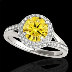 1.85 CTW Certified Si Fancy Intense Yellow Diamond Solitaire Halo Ring 10K White Gold - REF-218F2M -