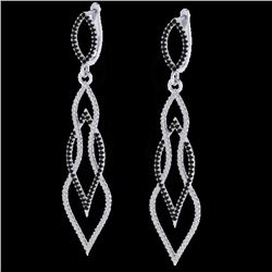 1.90 CTW Micro Pave Black & VS/SI Diamond Certified Earrings 14K White Gold - REF-153F3M - 20092