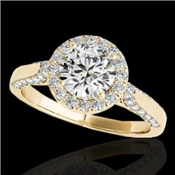 1.5 CTW H-SI/I Certified Diamond Solitaire Halo Ring 10K Yellow Gold - REF-176W4H - 33564