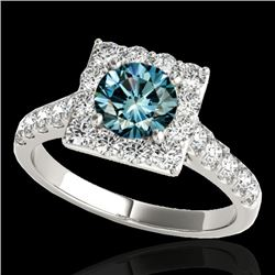 2 CTW SI Certified Blue Diamond Solitaire Halo Ring 10K White Gold - REF-210K9R - 34137