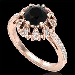 1.65 CTW Fancy Black Diamond Engagement Art Deco Micro Pave Ring 18K Rose Gold - REF-132T8X - 37724