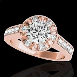 2 2 CTW H-SI/I Certified Diamond Solitaire Halo Ring 10K Rose Gold - REF-236H4W - 34487
