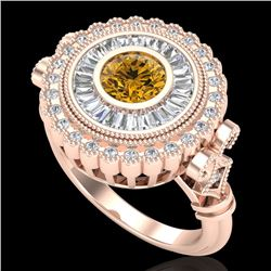 2.03 CTW Intense Fancy Yellow Diamond Engagement Art Deco Ring 18K Rose Gold - REF-245Y5N - 37904