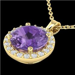 2 CTW Amethyst & Halo VS/SI Diamond Micro Pave Necklace 18K Yellow Gold - REF-40T5X - 21550