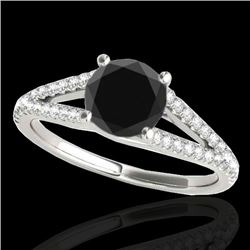 1.25 CTW Certified Vs Black Diamond Solitaire Ring 10K White Gold - REF-59H3W - 35306