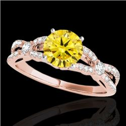 1.35 CTW Certified Si Fancy Intense Yellow Diamond Solitaire Ring 10K Rose Gold - REF-167T3X - 35231