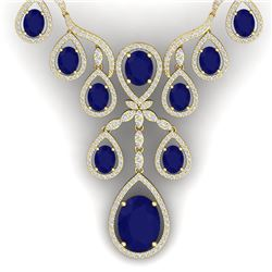 37.66 CTW Royalty Sapphire & VS Diamond Necklace 18K Yellow Gold - REF-890N9Y - 38564