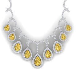 29.42 CTW Royalty Canary Citrine & VS Diamond Necklace 18K White Gold - REF-781N8Y - 39357