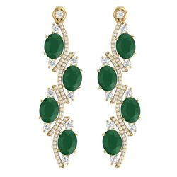 16.12 CTW Royalty Emerald & VS Diamond Earrings 18K Yellow Gold - REF-290K9R - 38978
